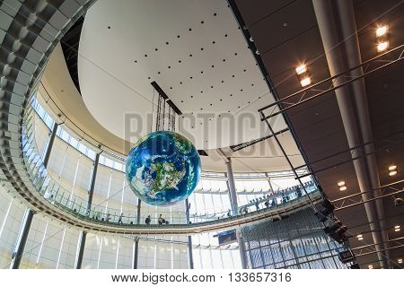 "TOKYO JAPAN - NOVEMBER 27 2015: The National Museum of Emerging Science and Innovation known as the Miraikan literally ""Future Museum"" created by Japan's Science and Technology Agency"