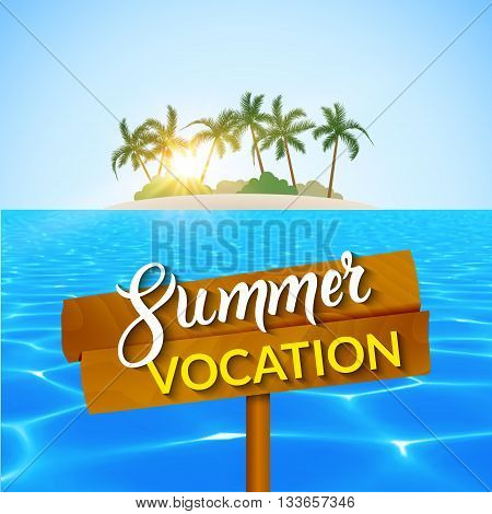 Travel summer island vocation. Island Beach with palms, blue water and sky. Summer vocation vector illustration