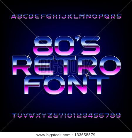 80's retro alphabet font. Metallic effect shiny letters and numbers. Light glare sparkle. Vector font for flyers, headlines, posters etc.