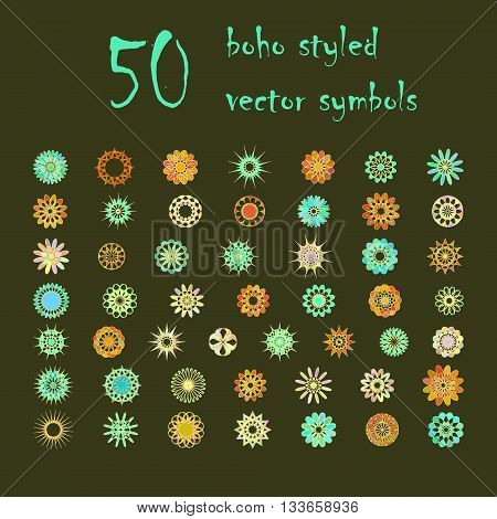 Big set of abstract design flowers. Vector illustration of circular colored variegated symbols. Spirograph boho styled colorful  elements