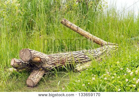 A tree without branches is (fell) on the green grass. All the branches sawn off. In the background the water (river or lake).