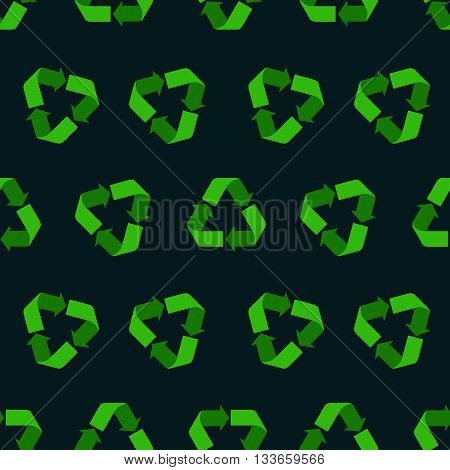 Seamless flat vector recycling sign pattern for packaging and print. Recycle symbols background for eco design. Dark background with green recycle icons