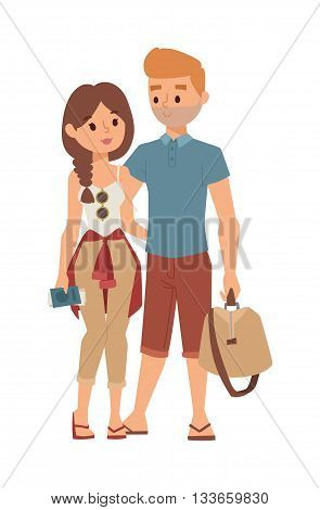 Trip abroad happy young couple just won trip abroad and trip abroad concept. Vector couple people trip abroad and journey tourism vacation international, travelling people. Europe people travelling.