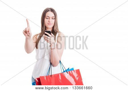 Wait A Minute Concept With Young Shopaholic Reading Something Important