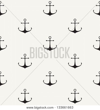 Vector Seamless Pattern. Modern Stylish Monochrome Background With Hand Drawn Anchor Symbol.