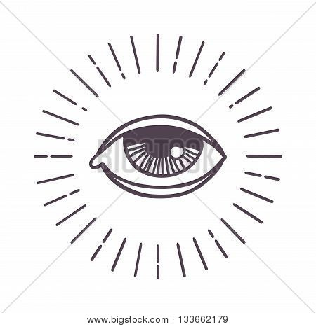 All seeing eye symbol on light background and eye sun vector. Eye sun god protection beauty freemason and eye sun. Eye sun science religion masonic art eyes pyramid triangle esoteric meditation icon.