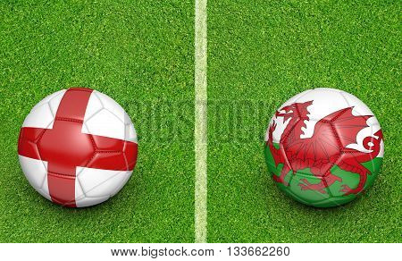 Team balls for England vs Wales football tournament match, 3D rendering poster