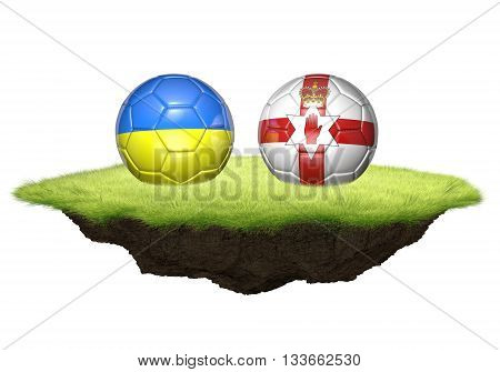 Ukraine and Northern Ireland team balls for football championship tournament, 3D rendering