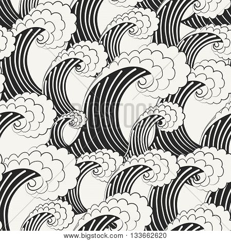 Hand Drawn Vector Seamless Pattern. Modern Stylish Monochrome Background With Structure Of Repeating