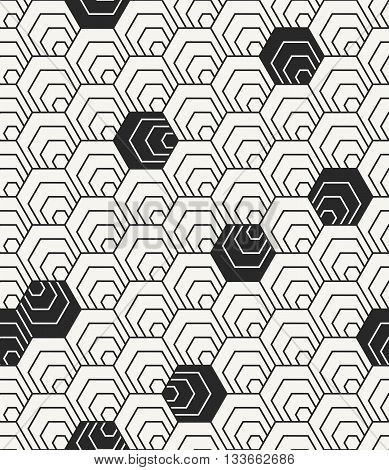 Modern Stylish Irregular Geometric Background With Structure Of Repeating Hexagons. Vector Seamless