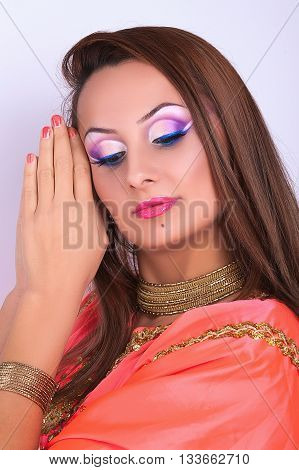 Portrait Of A Beautiful Young Girl With Professional Makeup