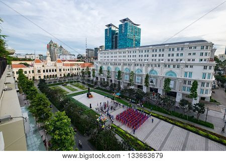 Mass wedding in front People's Committee building on Nguyen Hue Pedestrian Street. HO CHI MINH, VIETNAM 1/10/2015