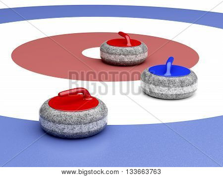 Curling stones near the target area, 3D illustration
