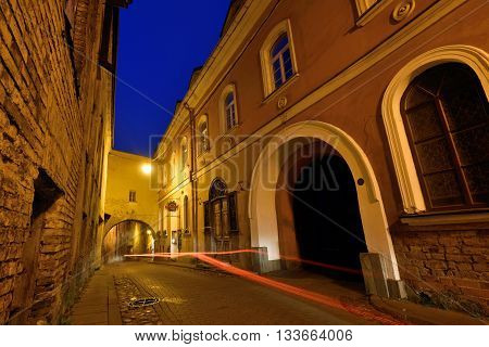 VILNIUS LITHUANIA - OCTOBER 01: The Old Town of Vilnius on October 01 2015 in Vilnius Lithuania. In 1994 the Vilnius Old Town was included in the UNESCO World Heritage List.