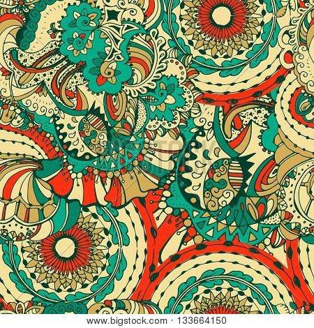 Bohemian style seamless tile.Vector ornament in Doodle style for textile, fabric, fashion design. Doodle Art collection.