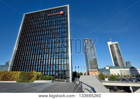 VILNIUS OCTOBER 06: The Head Office of Swedbank on October 06 2015 in Vilnius Lithuania. Swedbank is the leading bank in Sweden Estonia Latvia and Lithuania.