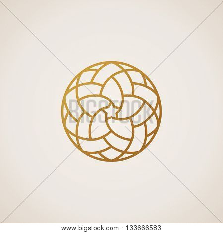 Geometric round Eastern star logo. Circular arabic ornamental symbol. Islam floral element for design. Raster copy logo