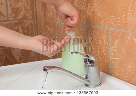 Woman Washing Hands. Cleaning Hands. Hygiene, soap