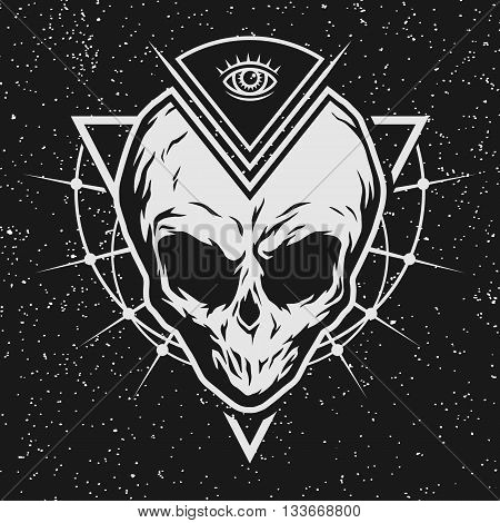 The skull is an alien and all-seeing eye with geometric elements on a dark background.
