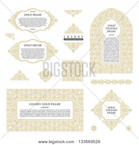 Arabic set of frames and lines of art design template. Muslim gold outline element and emblems. Eastern floral frame. Logo line pattern for menu, postcard, restaurant, wedding invitation. Raster copy