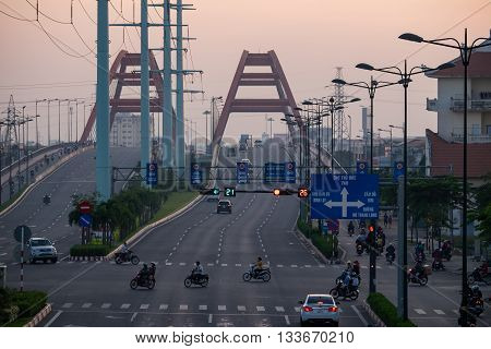 Traffic on Binh Loi Bridge. HO CHI MINH, VIETNAM