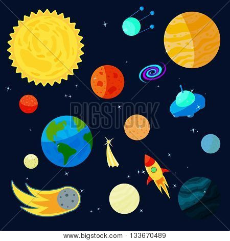 Space Icons set in cartoon style for any design