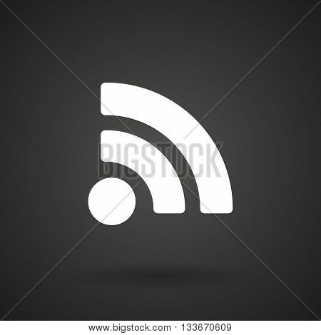 An Rss Sign    White Icon On A Dark  Background