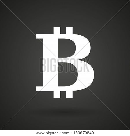 A Bit Coin Sign     White Icon On A Dark  Background