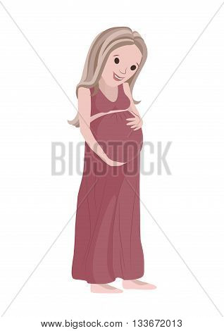 Pregnant woman looking at her belly and strokes his