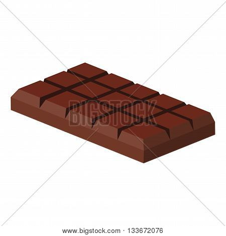 Tiles of dark chocolate on a white background