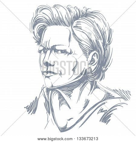 Vector portrait of attractive woman illustration of female expressing doubt. Person emotional face expression disbeliever idea.