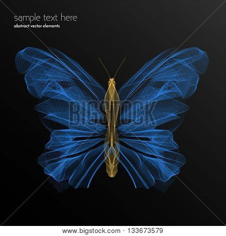 Vector abstract waves and lines background. Abstract butterfly lines. Waved design element. Curvy waves vectors. Abstract template background. Blend effect vectors.