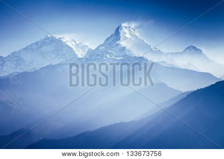 Annapurna mountains in sunrise light in Himalaya, Nepal