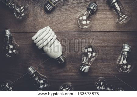 bulb uniqueness concept on the brown woodentable