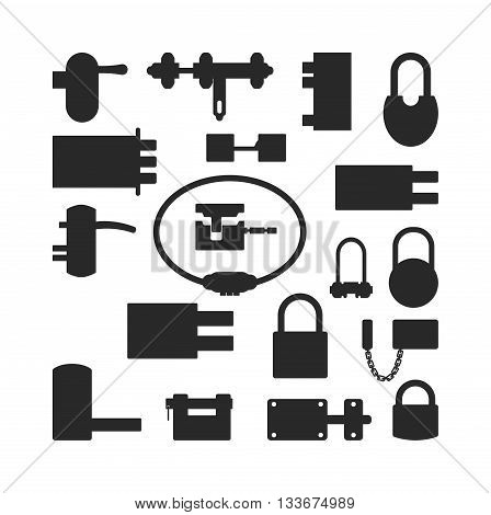 Lock icons set black silhouette and security padlock protection lock. Safety password sign lock privacy element and access shape open lock. Private lock set safeguard modern firewall equipment vector