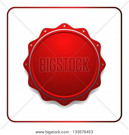 Seal award red icon. Blank medal with stars isolated on white background. Stamp design certificate. Label emblem. Symbol of assurance winner guarantee and best premium quality. Vector illustration