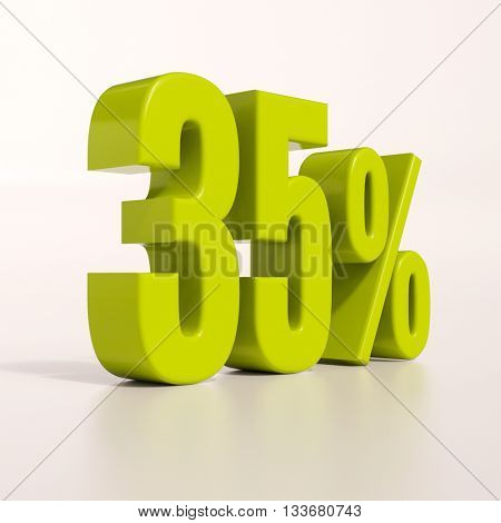 3d render: green 35 percent, percentage discount sign on white, 35%