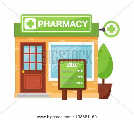 Vector pharmacy drugstore pharmacy shop design, store pharmacy shop and pharmacy shop front display design. Pharmacy shop medical drugstore healthcare pharmacist retail business design.