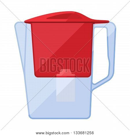 Water filter jar purifier flat icon with cartridge