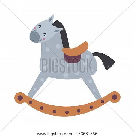 Toy horse vintage rocking horse isolated on white and cartoon toy horse vector. Toy horse fun cute decoration and retro rocking toy horse. Traditional toddler game rocking horse.