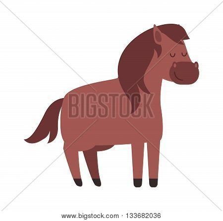 Illustration of running beautiful cartoon pony golden baby horse and cartoon pony vector farm animal. Cartoon pony mane adorable mammal and little unicorn nature cartoon brown pony. poster