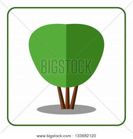 Shrub tree icon. Flat design. Bush sign. Trendy beautiful floral element isolated on white background. Green silhouette deciduous tree. Symbol of nature forest. Sprites for game. Vector illustration