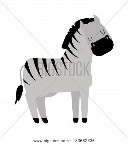 Zebra horse stallion with long mane portrait isolated on white background. Cartoon stallion wild animal zebra horse and stallion mammal horse vector. Cute cartoon zebra horse animal.