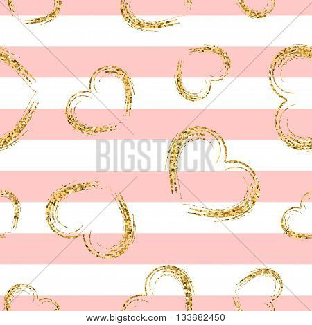Golden hearts and stripes seamless pattern. Gold glitter and pink chaotic template. Abstract texture. Retro. Valentine day design template for wallpaper wrapping textile fabric. Vector Illustration