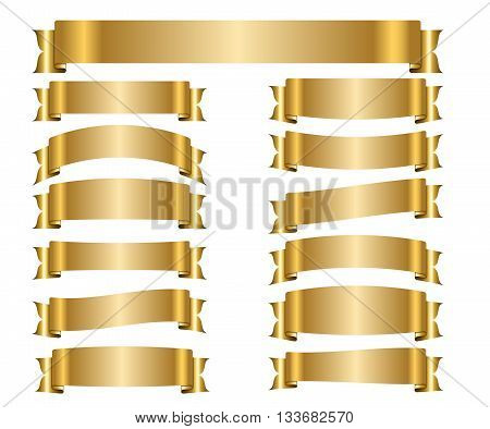 Ribbon gold banners set. Sign golden satin blank for promotion web advertising text. Collection shiny scrolls design decoration elements. Symbol vintage label isolated on white. Vector illustration