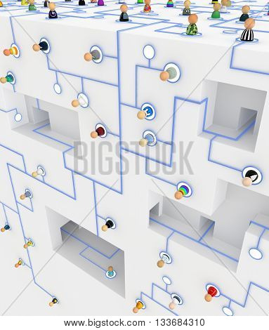 Crowd of small symbolic figures linked by lines 3d illustration vertical