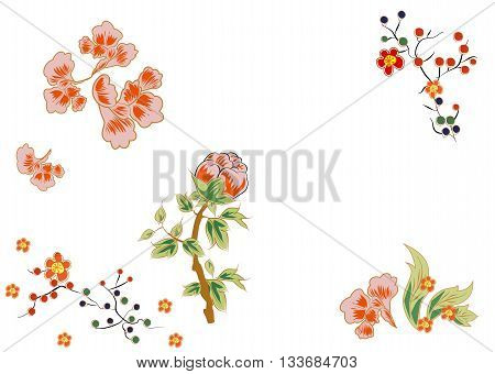 Fabulous flowers with bright red berries. Japanese and Chinese style of painting.