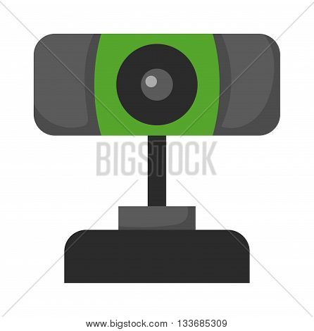 Web camera icon isolated on a white background. Isometric web camera. Webcam flat icon isolated. Desktop web camera on a stand. Webcam icon, symbol in flat.