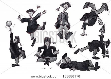 college grad cartoon illustration collection over white