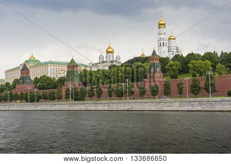 Moscow - June 02: The Towers And Walls Of Moscow Kremlin From The Moskva River On June 02, 2016